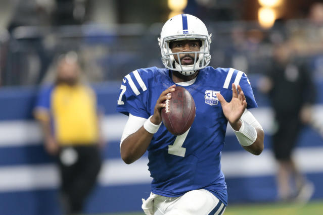 Indianapolis Colts quarterback Jacoby Brissett (7) looks to throw during the second half of an NFL preseason football game against the San Francisco 49ers in Indianapolis, Saturday, Aug. 25, 2018. (AP Photo/AJ Mast)