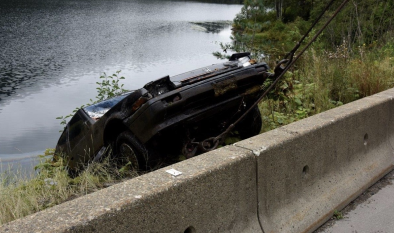 A car found at the bottom of a lake.