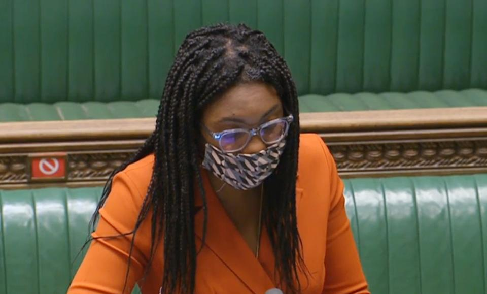 Equalities Minister Kemi Badenoch answers a question at the despatch box while wearing a face covering in the House of Commons in Westminster, London.