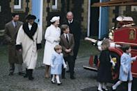 <p>A royal family visit to a museum in Sandringham in January 1988. Prince Charles, Princess Diana, Queen Elizabeth, Peter Philips, Prince Philip, Prince Harry, Zara Phillips and Prince William all spent the day together. </p>