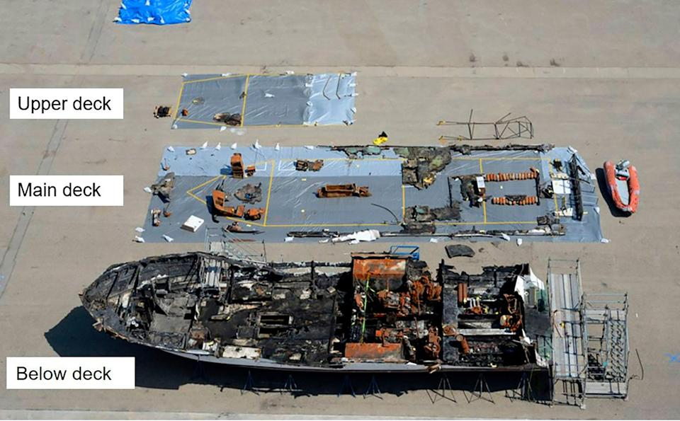 A dive boat fire that killed 34 people off the coast of California was probably caused by mobile phones left charging overnight, according to investigators. (NTSB via AP)