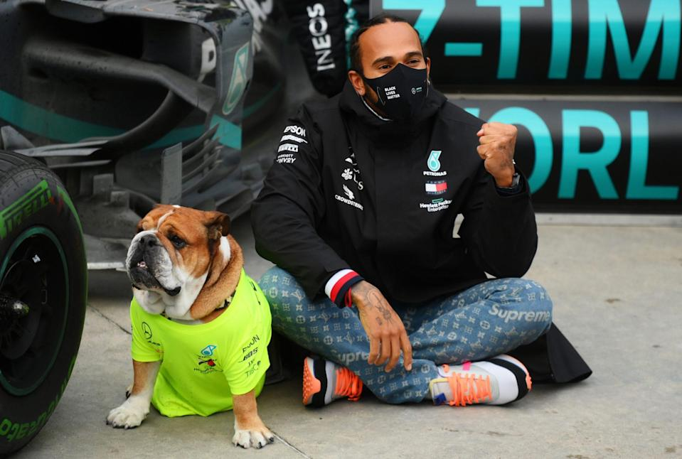 <p>Lewis Hamilton celebrates winning the F1 World Drivers Championship with his dog Roscoe at Intercity Istanbul Park on Sunday in Istanbul, Turkey.</p>
