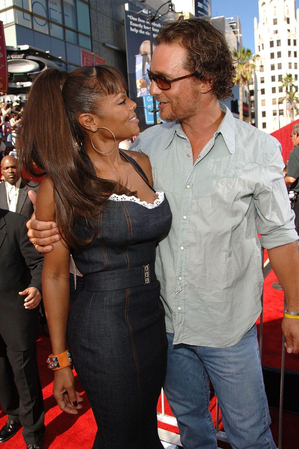 """<p>After meeting at the 2002 Grammy Awards, Janet Jackson and Matthew McConaughey dated for a short period of time—though McConaughey never considered it a relationship.""""We swapped some good music and she's a dear lady. She's a sweetheart but we're not dating, we're just friends,"""" he <a href=""""https://www.telegraph.co.uk/films/0/unlikely-valentine-hollywoods-bizarre-celebrity-couples/matthew-mcconaughey-janet-jackson/"""" rel=""""nofollow noopener"""" target=""""_blank"""" data-ylk=""""slk:told Upscale Magazine"""" class=""""link rapid-noclick-resp"""">told <em>Upscale Magazine</em></a>. """"That's about all there is right now.""""</p><p>However, Jackson <a href=""""https://www.telegraph.co.uk/films/0/unlikely-valentine-hollywoods-bizarre-celebrity-couples/matthew-mcconaughey-janet-jackson/"""" rel=""""nofollow noopener"""" target=""""_blank"""" data-ylk=""""slk:said in 2006"""" class=""""link rapid-noclick-resp"""">said in 2006</a> that they did date, but very briefly. """"I guess we did [date]. He is such a great guy and a sweetheart. It was just for a minute, that's why I'm so hesitant to mention it,"""" Jackson said.</p>"""