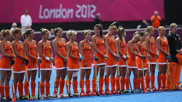 The Netherlands players line up prior to the Women's Pool WA Match W02 between the Netherlands and Belgium at the Hockey Centre on July 29, 2012 in London, England. (Photo by Daniel Berehulak/Getty Images)