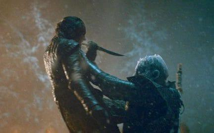 Arya killing the Night King in the Battle of Winterfell