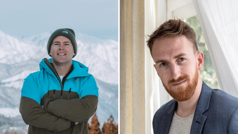 Left: Liquid Snow Tours owner Quentin Nolan; right: Interactive Theatre International producer Jared Harford. (Source: Supplied)
