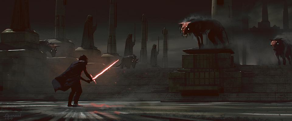 In an early version of 'The Rise of Skywalker,' Kylo Ren visited Coruscant and encountered roving packs of space wolves as revealed in 'The Art of Star Wars: The Rise of Skywalker' (Photo:  Lucasfilm Ltd. © Abrams Books, 2020/2020 Lucasfilm Ltd.)