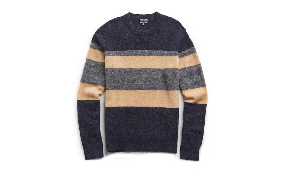 "$228, Todd Snyder. <a href=""https://www.toddsnyder.com/collections/sale/products/alpaca-multi-stripe-crew-navy-1"" rel=""nofollow noopener"" target=""_blank"" data-ylk=""slk:Get it now!"" class=""link rapid-noclick-resp"">Get it now!</a>"