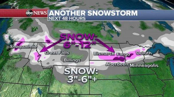 PHOTO: On Wednesday, a Winter Storm Watch and Winter Weather Advisory has been issued from the Rockies into the Great Lakes for as a new snowstorm takes aim at the area again. (ABC News)