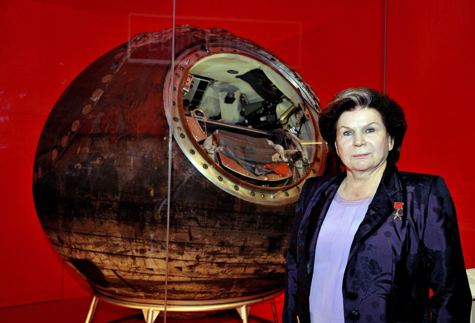 Valentina Tereshkova, the first woman in space, stands in front of Vostok-6, the capsule that she piloted into space, during the press preview of the Science Museum in London's new Cosmonauts: Birth of the Space Age exhibition. (Photo: Getty)
