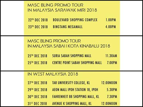 "The venue, date and time details for ""MASC BLING Promo Tour in Malaysia 2018""."