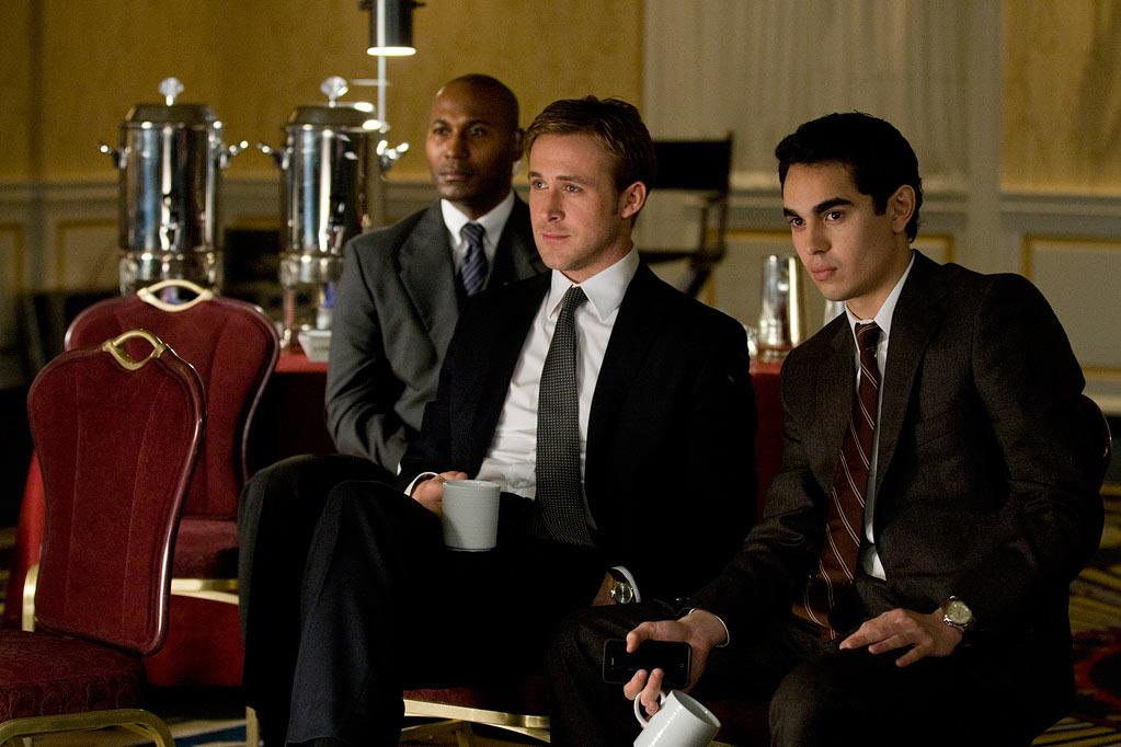 """<a href=""""http://movies.yahoo.com/movie/contributor/1804035474"""">Ryan Gosling</a> and <a href=""""http://movies.yahoo.com/movie/contributor/1808617316"""">Max Minghella</a> in Columbia Pictures' <a href=""""http://movies.yahoo.com/movie/1810155680/info"""">The Ides of March</a> - 2011"""