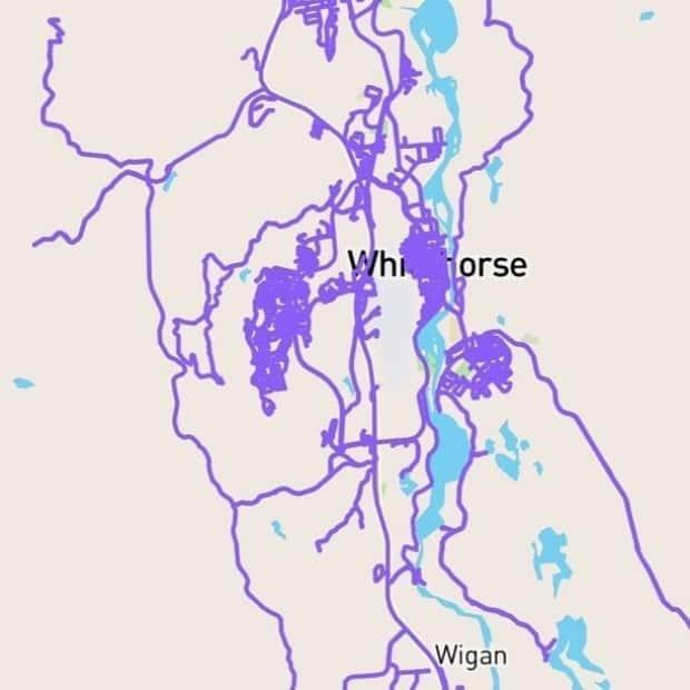 Got it covered: A screenshot from CityStrides app shows every street in Whitehorse tracked as being run.