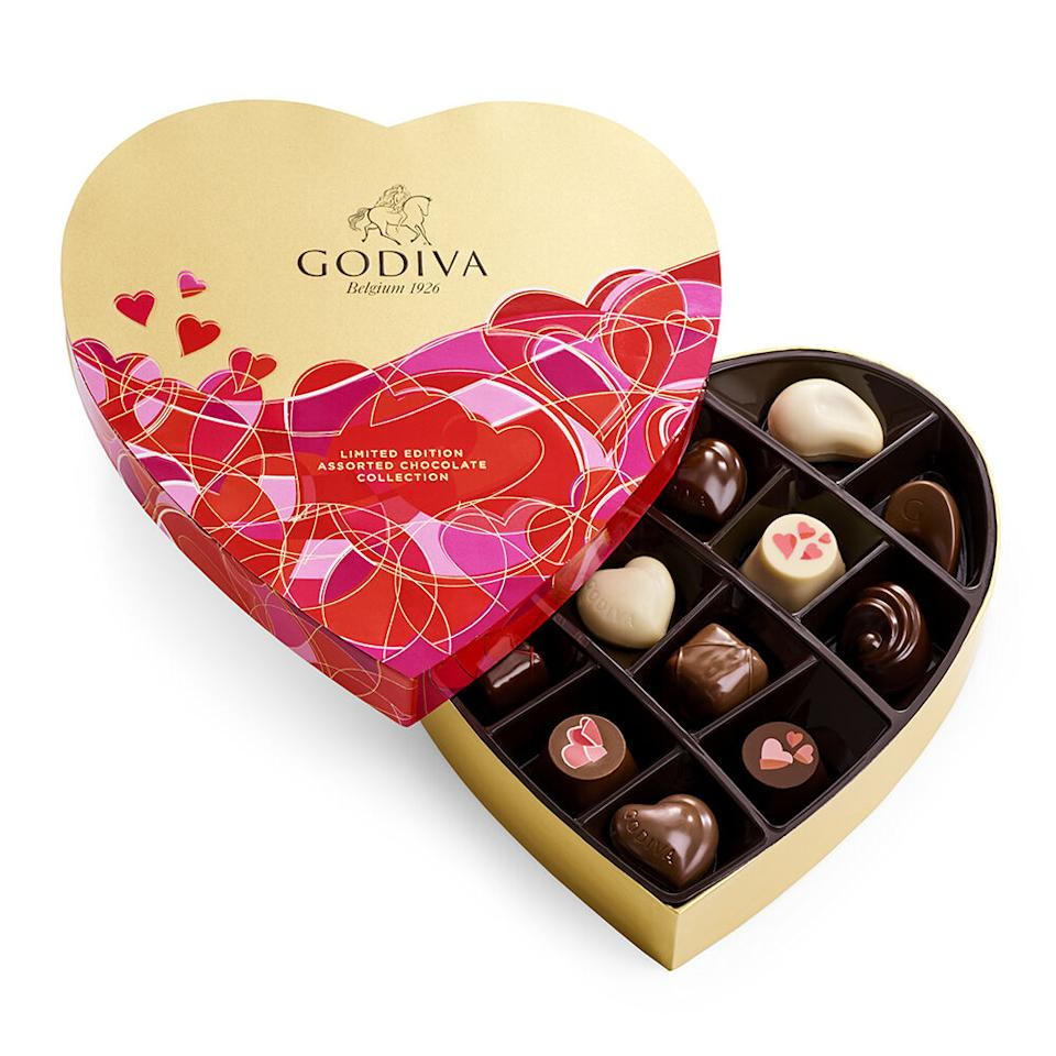 Valentine's Day Heart Assorted Chocolate Gift Box. Image via Godiva.