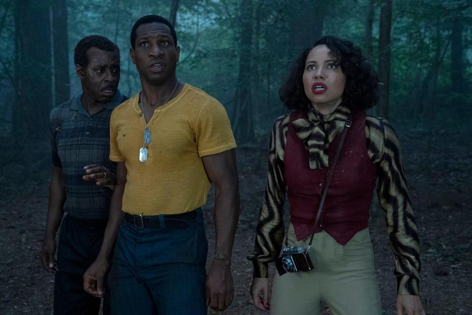 """George (Courtney B. Vance, far left), Atticus (Jonathan Majors) and Leti (Jurnee Smollett) find monsters, of both the human and supernatural kind, in HBO's """"Lovecraft Country."""""""