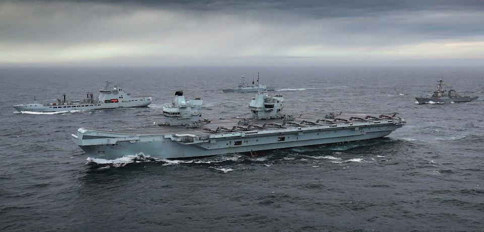 HMS Queen Elizabeth joined by supporting warships as the Carrier Strike Group assembles in the North Sea. - LPhot Belinda Alker/Ministry of Defence CROWN COPYRIGHT, 2020