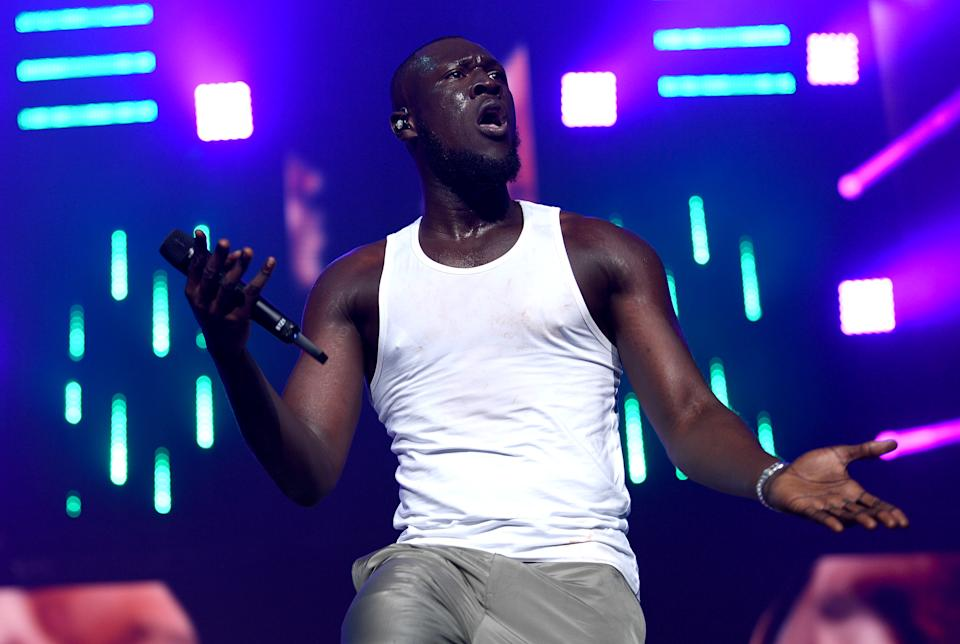 Stormzy performing on stage during day one of Capital's Jingle Bell Ball 2019 with Seat at the O2 Arena, London. Picture credit should read: Scott Garfitt/EMPICS Entertainment