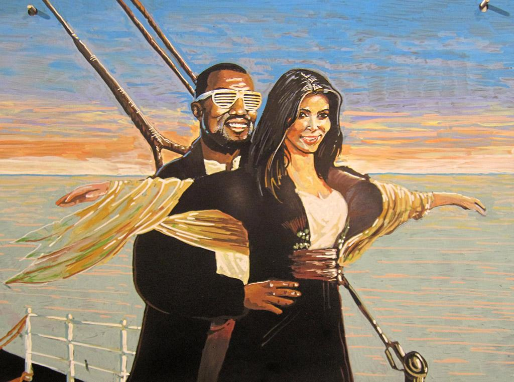 "Say it ain't so! Kim and Kanye messing with Leo and Kate's classic ""Titanic"" pose. Well, actually, they had nothing to do with it. But will their hearts go on? Here's Kim Kardashian and Kanye West on the deck of the Titanic. The painting is reportedly currently hanging in the flower department of a Whole Foods grocery store. They'll just need to add baby Kardashian-West to the piece of art later this year ... (3/5/2013)"