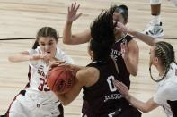 Stanford's Hannah Jump and Missouri State's Abi Jackson go after a loose ball during the first half of an NCAA college basketball game in the Sweet 16 round of the Women's NCAA tournament Sunday, March 28, 2021, at the Alamodome in San Antonio. (AP Photo/Morry Gash)