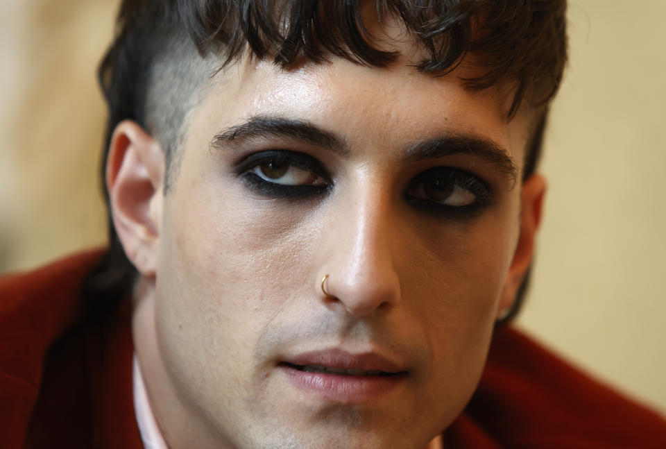 Damiano David, frontman of the Maneskin band, pictured during an interview with the Associated Press at a hotel in Rome, Tuesday, July 27, 2021. (AP Photo/Riccardo De Luca)