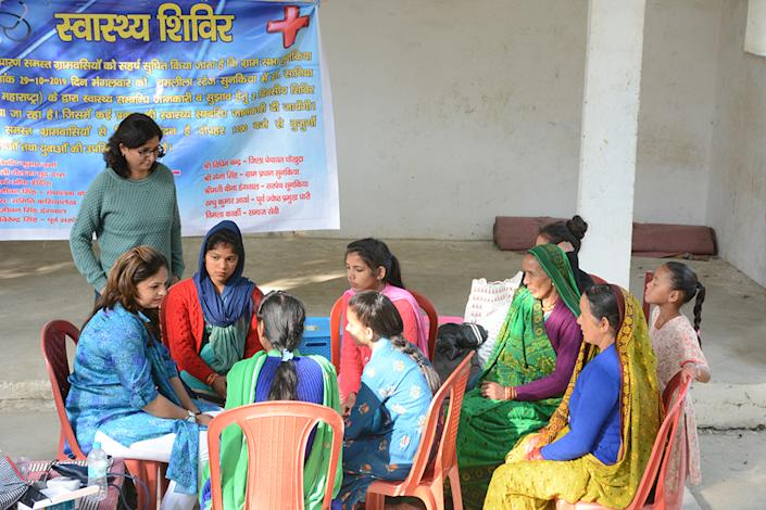 HOI's health initiative named 'Sehat Ki Shala' (SKS) trains volunteers in basic first aid and spreading awareness on menstrual health.