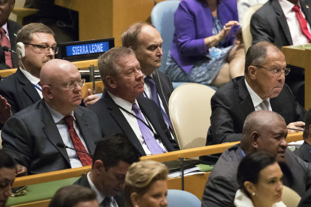<p>Russian Foreign Minister Sergey Lavrov, right, and Russia Ambassador to the United Nations Vassily Nebenzia, right, listen as President Trump speaks during the 72nd session of the United Nations General Assembly at U.N. headquarters, Tuesday, Sept. 19, 2017. (Photo: Mary Altaffer/AP) </p>