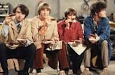 Davy Jones, Mickey Dolenz, Peter Tork and Mike Nesmith on the set of the television show 'The Monkees' in Los Angeles in December 1967  -- Getty Premium