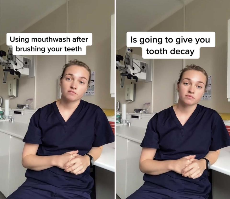 A dentist has taken to TikTok to share a common dental hygiene mistake that many of us are making when we brush our teeth. Photo: TikTok/@annapetersondental