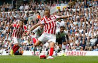 Stoke City's Marko Arnautovic scores a goal during their English Premier League match against Tottenham Hotspur, at White Hart Lane in north London, on August 15, 2015 (AFP Photo/Ian Kington)