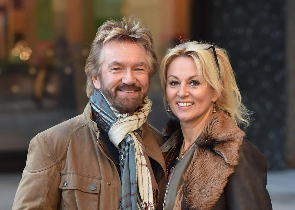 LONDON, ENGLAND - JANUARY 22:  Noel Edmonds and Elizabeth Davies spotted at the ITV studios on January 22, 2019 in London, England. (Photo by HGL/GC Images)