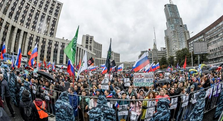 Tens of thousands took to the streets of Moscow after authorities refused to allow prominent opposition candidates to stand for the city parliament in September 8 elections