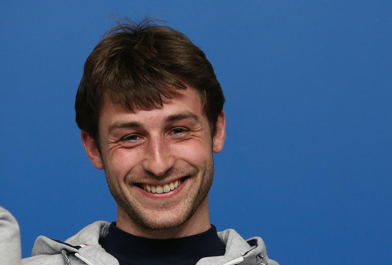 French figure skater Brian Joubert smiles during a press conference on February 5, 2014 before the start of the Sochi Winter Olympics