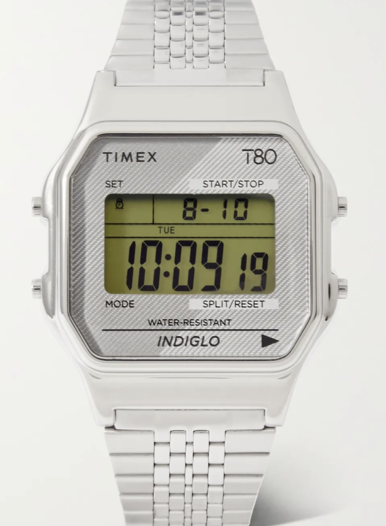 PHOTO: Mr Porter. TIMEX T80 34mm Stainless Steel Digital Watch