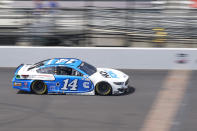 Chase Briscoe drives down the main straightaway during a NASCAR Series auto race at Indianapolis Motor Speedway, Sunday, Aug. 15, 2021, in Indianapolis. (AP Photo/Darron Cummings)