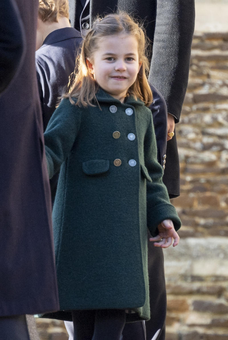 KING'S LYNN, ENGLAND - DECEMBER 25: Princess Charlotte of Cambridge attends the Christmas Day Church service at Church of St Mary Magdalene on the Sandringham estate on December 25, 2019 in King's Lynn, United Kingdom. (Photo by UK Press Pool/UK Press via Getty Images)