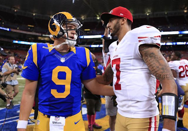 The Seattle Seahawks have signed Austin Davis (left) not Colin Kaepernick to vie for their backup QB role. (AP)