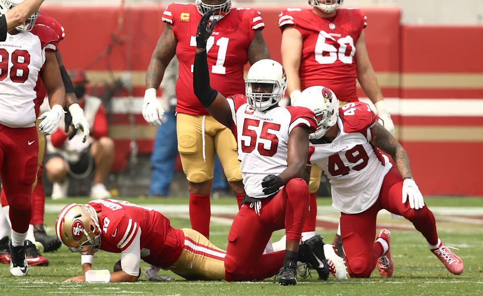 Chandler Jones of the Arizona Cardinals reacts after he sacked Jimmy Garoppolo. (Photo by Ezra Shaw/Getty Images)