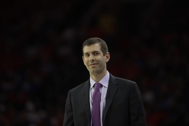 "<a class=""link rapid-noclick-resp"" href=""/nba/teams/bos"" data-ylk=""slk:Celtics"">Celtics</a> coach Brad Stevens took Butler to unprecedented heights. (AP)"