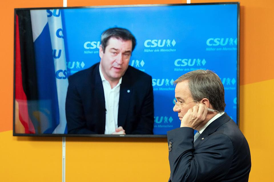 Entre Laschet y Söder está el liderazgo de la coalición CDU/CSU. (Photo by FEDERICO GAMBARINI/POOL/AFP via Getty Images)