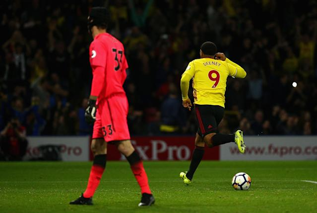 "<a class=""link rapid-noclick-resp"" href=""/soccer/players/troy-deeney/"" data-ylk=""slk:Troy Deeney"">Troy Deeney</a> scored against <a class=""link rapid-noclick-resp"" href=""/soccer/teams/arsenal/"" data-ylk=""slk:Arsenal"">Arsenal</a>, and had a hand in the winner. (Getty)"