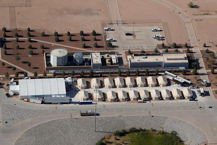 """<p>Immigrant children, many of whom have been separated from their parents under a new """"zero tolerance"""" policy by the Trump administration, are being housed in tents next to the Mexican border in Tornillo, Texas, June 18, 2018. (Photo: Mike Blake/Reuters) </p>"""