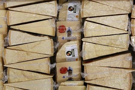 FILE PHOTO: Packages of Parmesan cheese are seen at 4 Madonne Caseificio dell'Emilia dairy cooperative in Modena
