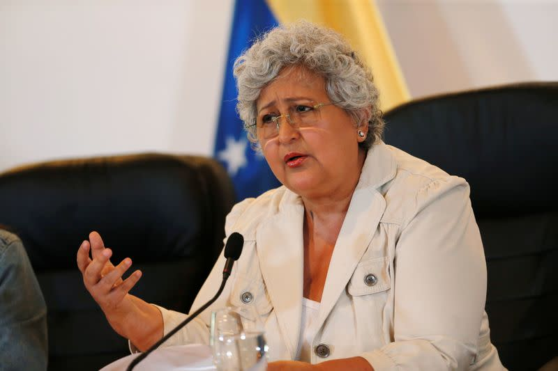 Venezuela's National Electoral Council (CNE) President Tibisay Lucena speaks during a news conference in Caracas