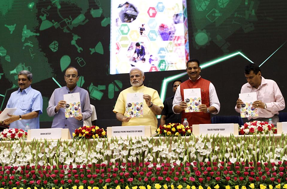 <strong>Launched on July 15 2015</strong>, the Skill India campaign focuses on training 40 crore people/youth in India in different skills by 2022. The various initiatives under this campaign include -- National Skill Development Mission, National Policy for Skill Development and Entrepreneurship, Pradhan Mantri Kaushal Vikas Yojana (PMKVY), Skill Loan scheme and Rural India Skill.