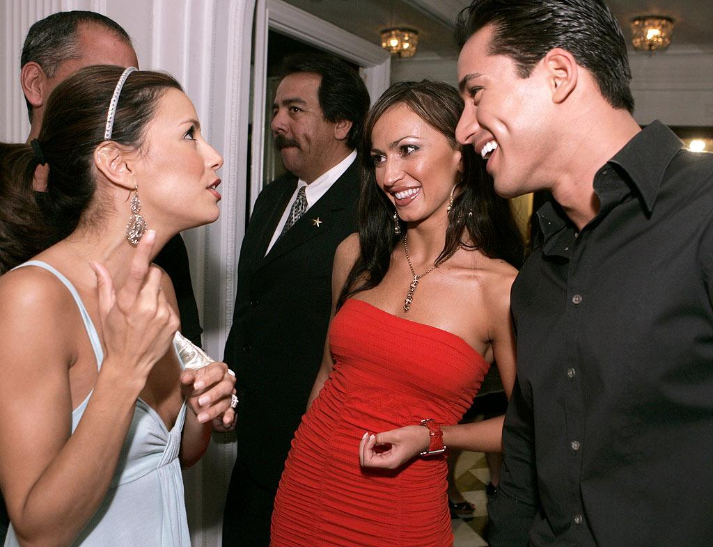 "Eva Longoria, Karina Smirnoff and Mario Lopez. Chris Weeks/<a href=""http://www.wireimage.com"" target=""new"">WireImage.com</a> - May 31, 2007"