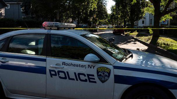 PHOTO: ROCHESTER, NY - SEPTEMBER 19: Police tape lines a crime scene after a shooting at a backyard party on September 19, 2020, Rochester, New York. (Joshua Rashaad Mcfadden/Getty Images)