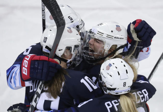 <p>Gigi Marvin (19), of the United States, celebrates with her teammates after scoring a goal against Finland during the first period of the semifinal round of the women's hockey game at the 2018 Winter Olympics in Gangneung, South Korea, Monday, Feb. 19, 2018. (AP Photo/Julio Cortez) </p>