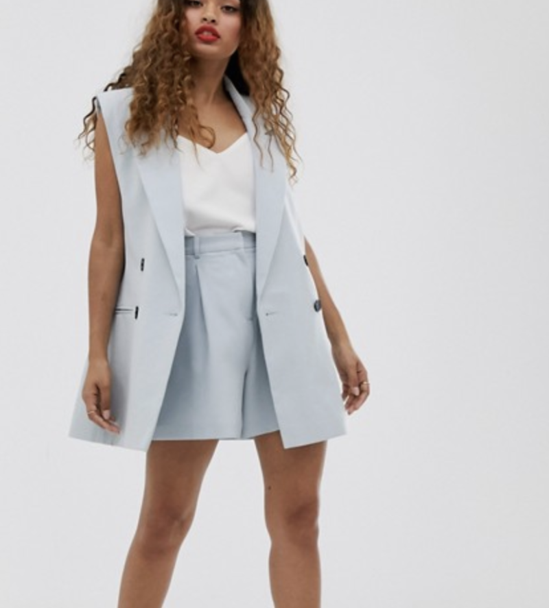 ASOS Petite sleeveless dad blazer in blue, S$66.70 (was S$92.64). PHOTO: ASOS