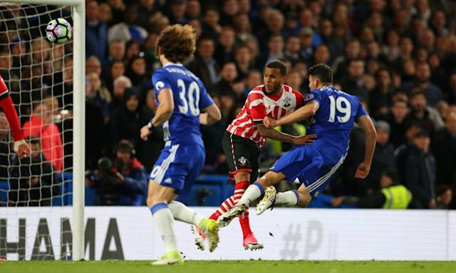 "<span class=""element-image__caption"">Diego Costa, right, scores Chelsea's third goal against Southampton with a flying header.</span> <span class=""element-image__credit"">Photograph: Catherine Ivill - AMA/Getty Images</span>"