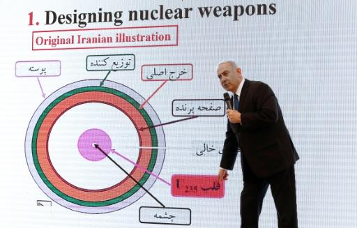 Israeli Prime Minister Benjamin Netanyahu delivers a speech on Iran's nuclear programme at the defence ministry in Tel Aviv on April 30, 2018
